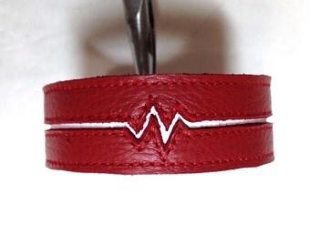 Women's leather heartbeat bracelet cuff, red and white heart beat bracelet cuff, womens leather braclet.