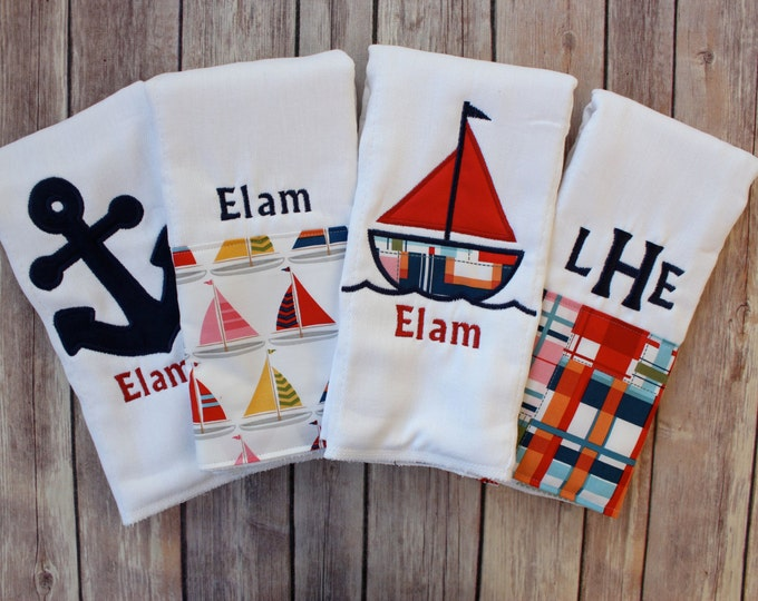 Baby Boy Nautical Burp Cloth Set - Baby Boy Sailboat Anchor Burp Cloth - Boy Nautical Baby Gift Nautical Boy Burp Cloth Set Madras Burp