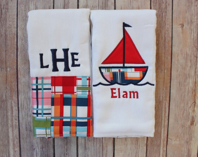 Personalized Monogrammed Baby Boy Sailboat Burp Cloth Set - Monogrammed Madras Burp Cloth and Applique Sailboat Burp Cloth, Baby Boy Gift