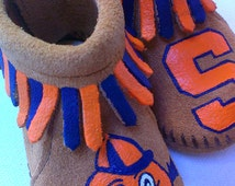 Custom Hand Painted Syracuse Otto Orangemen Baby Moccasins