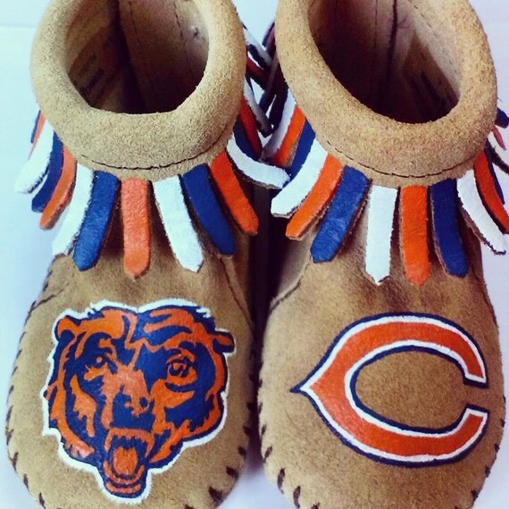 Custom Painted Chicago Bears Beardown Baby Moccasins