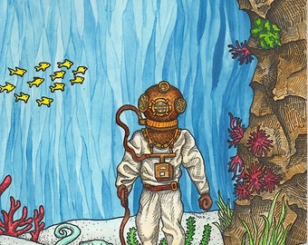 Deep Sea Diver With Octopus on Leash - Art Print - Watercolor Painting