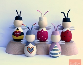 OOAK Hand Painted Love Bug Peg Dolls Perfect for Valentines Day