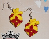 Yellow and Red Zia (Made in new Mexico) Anatomical Heart Earring dangles MATCHING NECKLACES AVAILABLE