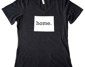 V Neck Wyoming Home State T-Shirt Women's Triblend Tee - Sizes S-XXL