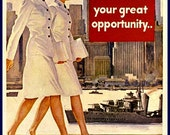 US Navy, WAVES,  Recruiting Advert Print, 1940s, WWII