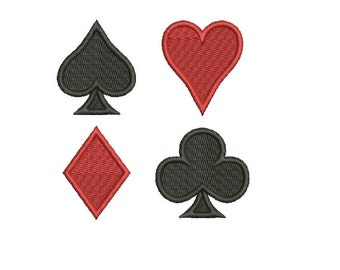 Machine Embroidery Design Instant Download -Playing Card Suits (Spade Heart Diamond Club)