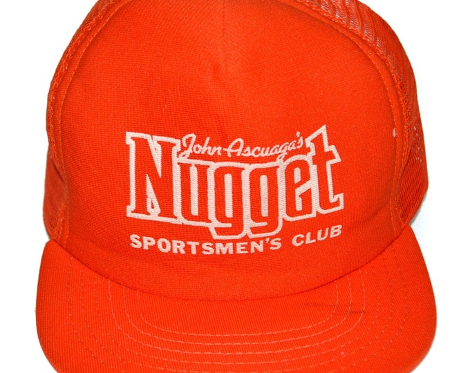 Vintage 80s John Ascuaga's Nugget Sportsmen's Club Mesh Foam Trucker Snapback Cap Hat