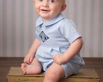 Boy's Personalized Monogrammed Light Blue Romper Shortall