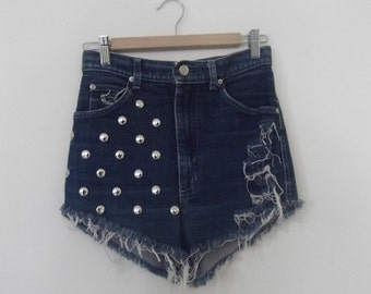 "30"" High Waist Lee shorts - lee riders, denim shorts, studded denim, high waisted, summer shorts"