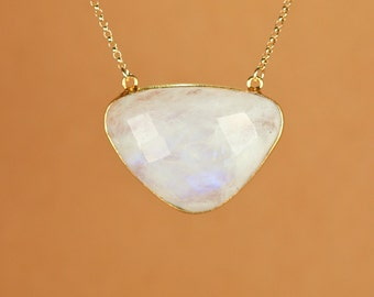 Moonstone necklace - rainbow moonstone - triangle - june birthstone - a gold bezel set moonstone on a 14k gold filled chain