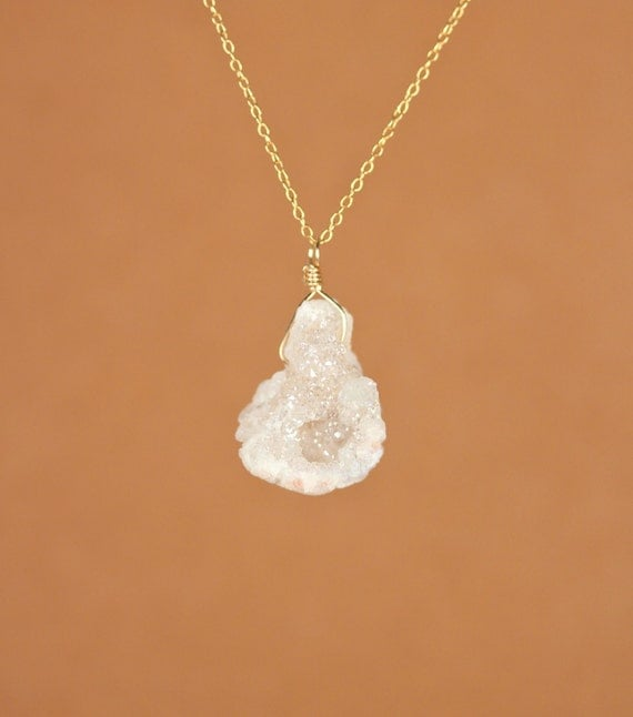 Druzy necklace -  angel aura crystal necklace - a wire wrapped aura quartz hanging from a 14k gold vermeil chain