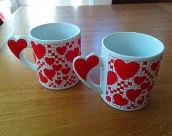 "Vintage Heart Mugs ""The Love Mug"" Set of Two"