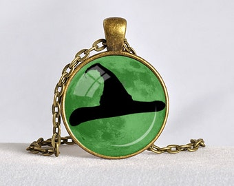 HALLOWEEN JEWELRY WITCH Hat Pendant Halloween Necklace Witches Hat Halloween Costume Black Green Witch Full Moon Witch's Hat