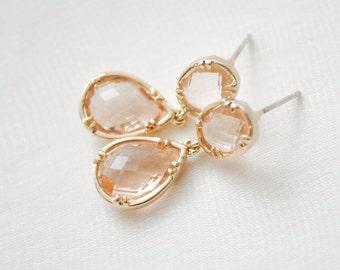 Golden Peach Earrings, Bridesmaid Earrings, Peach Earrings, Gold Earrings, Bridesmaid Jewelry