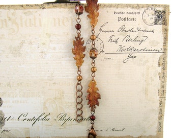 Autumn Bracelet - Oak Leaf Jewelry - Hand Painted Autumn Leaves Jewelry Patina Jewelry - Swarovski Autumn Leaf Fall Bracelet
