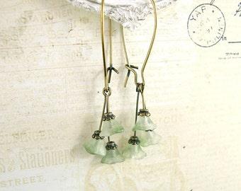Sage Green Flower Dangle Earrings - Victorian Bronze Earrings Kidney Ear Wire Dainty Earrings Czech Flower Antique Brass Fairy Earrings