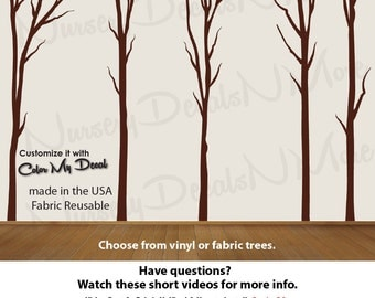 Nature Tree Wall Stickers, Dead Tree Decal, Vinyl Tree Decal (Brown Dead Trees No Deer) Dead_Nature_Tree NTD