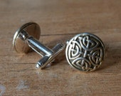 "LAST ONE - Dull silver tone with golden highlights celtic eternal knot ""Samonios"" cufflinks"