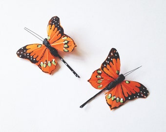 Orange Butterfly Hair Clips, butterfly hair pins, hair accessories, wedding hair accessories, butterfly bobby pins, woodland wedding