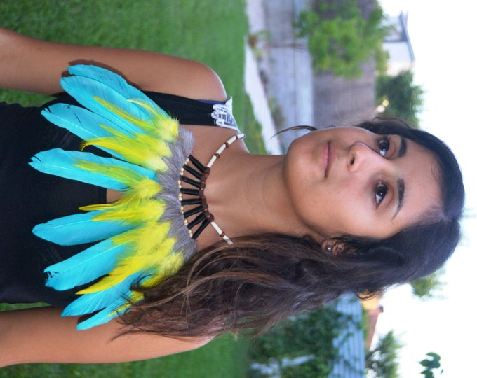 J17- Turquoise and yellow Feather Necklace