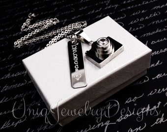 Photographers Necklace + Camera Necklace + Bar Necklace +Name necklace + Personalized Photographer necklace