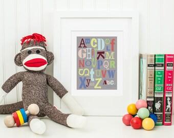 Gray Alphabet ABCs Digital Nursery Art Print