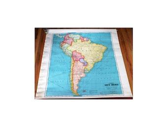 Vintage School Map, Classroom Chart, South America, Cram's, Bright Colors