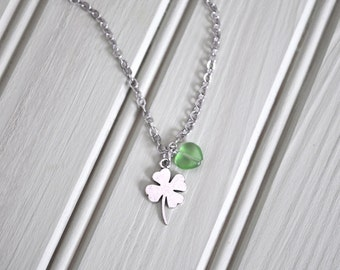 CLEARANCE  St Patrick's Day Four Leaf Clover Green Bead Silver Necklace