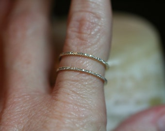 Double Stacked Micro Pave Diamond Eternity Ring / 14K Solid Gold / Genuine Diamonds, Size 6, Stacking, Cage, Delicate, Dainty, Ready to Ship