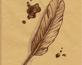 Feather and Ink (Original ink)-ON SALE now!