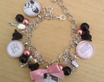 Marilyn Monroe and Audrey Hepburn Starlets Quotes Charm Bracelet - Retro, Unique