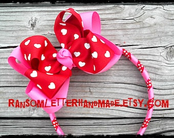 Large Red and White Valentine Hair Bow with Head Band Valentines Day Pink and Red Holiday Girls Red Dress Outfit