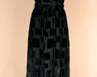 Vintage 1980's Black Burn Out Velvet Gown with Sequin Bodice and Tassel Belt