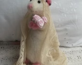 Needle Felted Mouse Little Nancy Mouse Bride Purple Hearts  & Roses Tiara With Antique Lace Veil