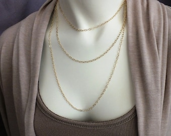 "15-37"" 14k Gold Chain, 2.8mm Cable Chain, 14k Gold Pendant Chain, Custom 14k Solid Gold Chain, Adjustable 14K Gold Layering Chain"