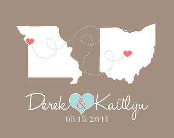 Engagement Gift, Custom Wedding Gift, Home Decor Art Print, Two States, Long Distance, Connecting Hearts, Names, Wedding Date, Anniversary