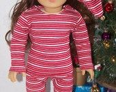 Christmas Eve Pajama Gift Box Set - Red, White, Gold Striped - fits 18 inch dolls