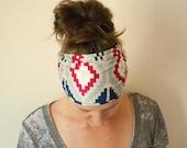 Aztec Print Jersey Knit Hair Scarf - Bohemian Head Wrap - Raspberry Blue Ear Warmer - Slub Knit Head Band