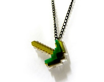 Minecraft laser cut pickaxe necklace