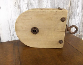 Vintage Giant Wooden Pulley In Excellent Condition This is a Big One