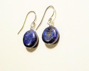 Genuine Lapiz Lazuli Earrings Sterling Silver Blue Stone Earrings Lapis Lazuli Jewelry, Gemstone Drop Earrings