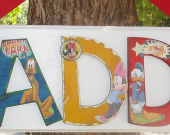 Mickey and Friends Name Plaque - Customize by Name, Character, Color, and Theme