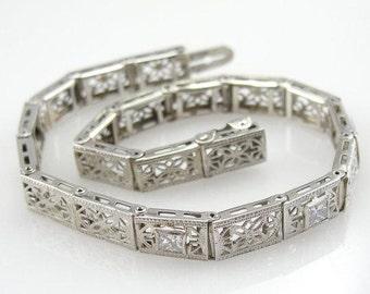Art Deco Filigree Diamond Bracelet - 9J2K7Y