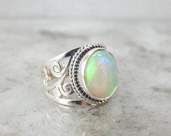 Botanical Theme Opal And Sterling Silver Ring 77DH8E-P