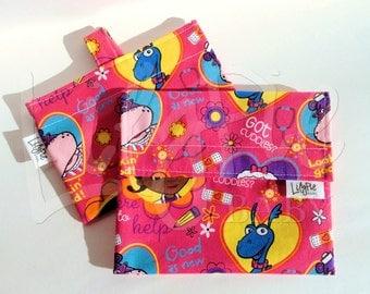 Reusable Sandwich & Reusable Snack Bag Set in DOC MCSTUFFINS print - Velcro - ECOfriendly - Food Safe - Dishwasher Safe - Back to School