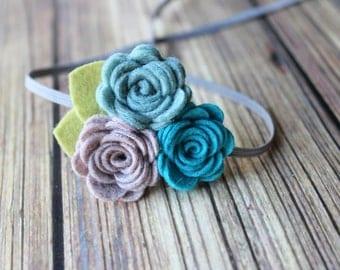 Felt flower headband  - newborn/baby/toddler headband - photo prop