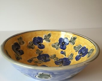 Vintage Handmade Ceramic Flower Bowl, Blue & Yellow Flower Serving Bowl, Fruit Bowl, Display Bowl, Pottery Bowl, Art Bowl