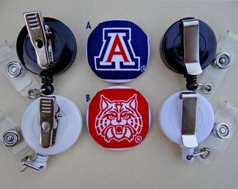 Retractable Badge Holder - Fabric Covered Button - University of Arizona (Wildcats)