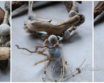 driftwood thane kai necklace,driftwood jewelry, roots, felt, primitive,raw wool, raw, organic jewelry, natural, felted,engraved wood,